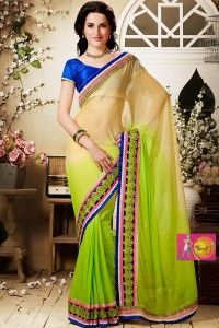 Designer Cream and Green color Party Wear
