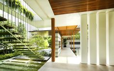 Stairs like I want. Interior/exterior overflow at the Cluny Park House in Singapore by Guz Architects