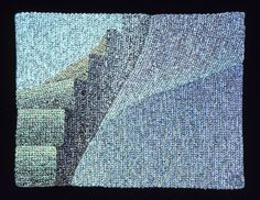 Elizabeth Tuttle, Circular Steps No. 5 Crocheted cotton sewing thread 9 x 12 inches 1980 to 1983 #cooltone #blues #blue #geometricart #geometry #crochet #art #fineart #fiberart #fibreart #textile #textileart #domesticlife #domesticart #conceptualart #architecture #design #stairs #opticalillusion #STEM #STEAM Cool Tones, Conceptual Art, Geometric Art, Optical Illusions, Textile Art, Fiber Art, Pattern Design, Crochet Art, Artist
