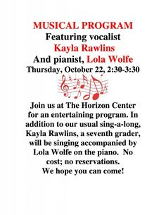 Shelby Senior Services Musical Program – The Horizon Center is hosting a musical program featuring vocalist Kayla Rawlins and pianist Lola Wolfe.