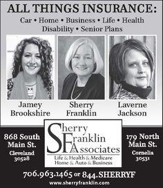 ALL THINGS INSURANCE:  Car • Home • Business • Life • Health  • Disability • Senior Plans ... | Sherry Franklin And Associates - Cleveland, GA #georgia #ClevelandGA #shoplocal #localGA