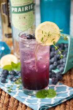 Blueberry Thyme Gin Fizzes — Punchfork | cheers! | Pinterest | Gin ...