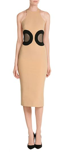 Colored in chic beige, this body-conscious dress from David Korma is detailed with two sheer cut-outs - accents that will draw the eye to your smallest point - your waist #Stylebop