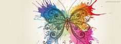 Paint Rainbow Butterfly Facebook Cover