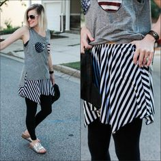 Shirt Extender-Black and White Stripes Asymmetrical Wardrobe foundation MUST-HAVE! Add style and versatility to your wardrobe with this black and white striped asymmetrical shirt extender, that adds l