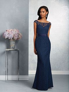Alfred Angelo Style 7410: floor length bridesmaid dress with sheer lace cap sleeve yoke, satin trim and sash