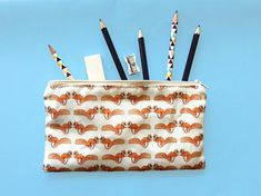 Your place to buy and sell all things handmade Pencil Cases, Pencil Pouch, Cool Journals, Red Squirrel, Journal Layout, Pouches, Printing On Fabric, Print Design, How To Draw Hands