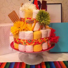 pictures of wedding shower centerpieces made from kitchen utensils | Kitchen Cake for Bridal Shower