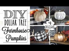 (205) DIY Dollar Tree Farmhouse Pumpkins | 4 Designs! - YouTube