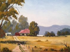 """Grampians View on Road to Stawell 12"""" x 16"""" Oil on Board. If you have ever been to the Grampians you will know that as you approach them they start to stand up on the horizon as blue hills in the distance. This is painted between the Grampians and Stawell. $490 framed ... click through to website"""