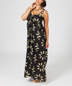 Look what I found on #zulily! Black & Camel Floral Maxi Dress - Plus #zulilyfinds