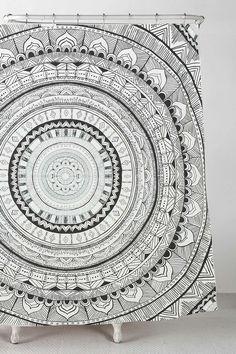 Duschvorhang mit Medaillons in Grau