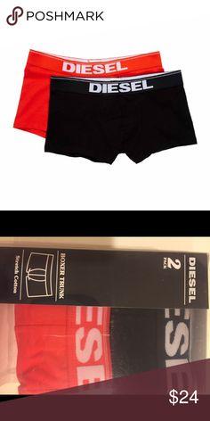 Diesel Rocco Trunk 2Pk, Black/Red Very Stretch 👌and comfortable 👍fit Underwear from Diesel💪 Diesel Underwear & Socks Boxer Briefs