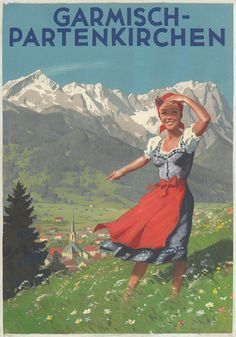 Old travel posters for the Bavarian Alps, Germany