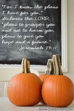 fall pumpkins chalkboard jeremiah 29:11