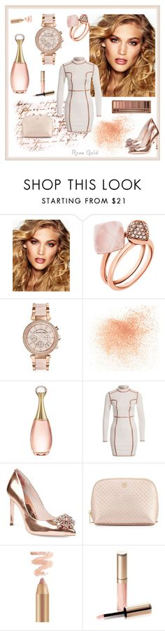 """""""Rose Gold shine"""" by majalina123 ❤ liked on Polyvore featuring Charlotte Tilbury, Michael Kors, Eve Lom, Christian Dior, Rare London, Ted Baker, Tory Burch, By Terry, Urban Decay and rosegold"""