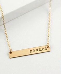Gold Stamped Nameplate Necklace