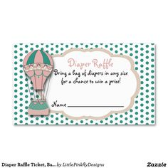 Diaper Raffle Ticket, Baby shower Hot air Balloon Double-Sided Standard Business Cards (Pack Of 100)