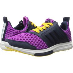 adidas Stellasport Yvori (Purple/Yellow/White) Women's Shoes (€55) ❤ liked on Polyvore featuring shoes, athletic shoes, purple, white shoes, climacool shoes, lightweight shoes, purple shoes and adidas footwear