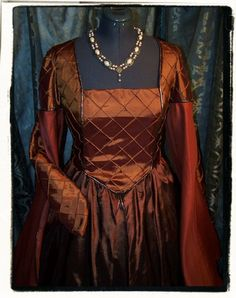 Autumn Tudor Court  Renaissance Dress Bust 42 by RecycledRockstah, $199.00