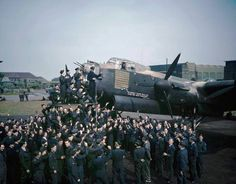 Avro Lancaster R5868 'S' Photograph of Avro Lancaster R5868 'S' for Sugar, surrounded by her crew and other members of No. 467 Squadron R.A.A.F. after the aircraft had completed 100 operational flights