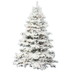Flocked Alaskan 9' White Artificial Christmas Tree with 1200 LED Multi-Colored Lights with Stand