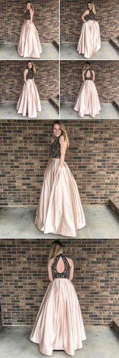 Two Pieces Beaded Long Prom Dress ,Fashion Pageant Dress · superbnoivadress · Online Store Powered by Storenvy Prom Dresses With Pockets, Grad Dresses, Dresses For Teens, Trendy Dresses, Homecoming Dresses, Nice Dresses, Evening Dresses, Formal Dresses, Winter Dress Outfits