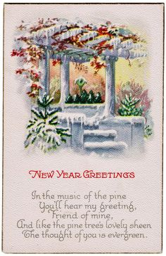 Free Printable Antique New Year's Postcard from KnickofTime.net