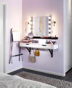 [ IKEA ]  Étagère avec tiroir EKBY ALEX  Miroir KOLJA  Étagère RIBBA  Lampe murale à LED LEDSJÖ  Tabouret FRANKLIN