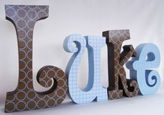 Wooden Letters for Baby Boy Decor. $59.96, via Etsy.
