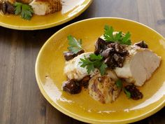 Get Grilled Chicken Breasts with Shiitake Mushroom Vinaigrette Recipe from Food Network