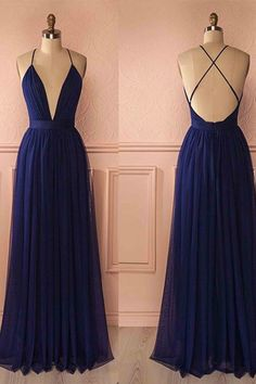 Simple but cute, v-neck navy blue chiffon prom dress with straps