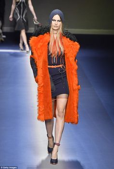 Catwalk comeback: Behati Prinsloo made her catwalk comeback as she walked in Versace's Fall 2017 show during Milan Fashion Week on Friday