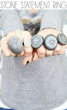 alisaburke: fashion friday-stone statement rings  GOTTA gotta gotta try this....Lake Michigan stones?
