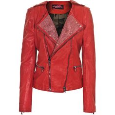 CAMOUFLAGE COUTURE STORK Gloria Red Embellished leather jacket ($1,865) ❤ liked on Polyvore featuring outerwear, jackets, leather jackets, tops, real leather jackets, moto jacket, slim fit motorcycle jacket, red jacket and genuine leather biker jacket