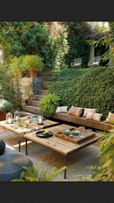 Backyard, wood bench, cozy outdoor dining