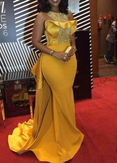 Plus Size Sexy Mermaid 2018 Joselyn Dumas Prom Dresses African Scoop Crystal Beaded Satin Celebrity Dresses Women Yellow Evening Gowns Yellow Evening Gown, Cheap Evening Dresses, Black Evening Dresses, Evening Gowns, African Prom Dresses, African Wedding Dress, African Fashion Dresses, African Dress, African Weddings