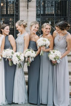 Mismatched Bridesmaids in Grey for a City Wedding Venue: Granite Links Golf Club – www.stylemepretty… Floral Design: Wedding Flowers by Annette – www.stylemepretty… Photography: Ashley Largesse Photography – www.ashleylargess… Read More on SMP: Mismatched Bridesmaid Dresses, Bridesmaids And Groomsmen, Wedding Bridesmaid Dresses, Wedding Attire, Bridesmaid Ideas, Grey Wedding Dresses, Winter Wedding Bridesmaids, Wedding Bouquets, Bridesmaids With Different Dresses
