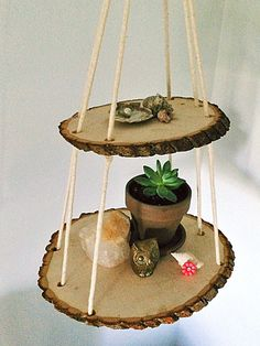 2 Tier Wood Slice Hanging Shelf