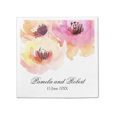 Peach and Pink Watercolor Floral Wedding Paper Napkin - Sold at Oasis_Landing on Zazzle.