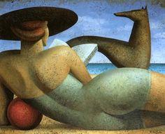 Mujer leyendo en la playa, 1994, by Fabio Hurtado
