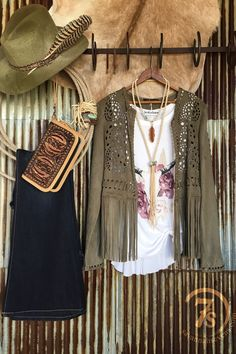 The Bowie - Light olive faux suede jacket. Laser cut patter. Fringe hem. Suede laced edges and sleeves. SO so soft! Cowgirl style. Rodeo fashion. Women's Western Wear. Ranch style. Boho Cowgirl. Get yours now: https://savannahsevens.com/products/the-bowie
