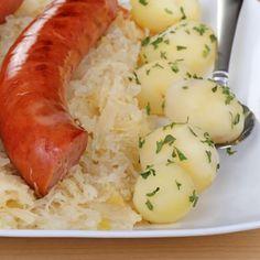 Potatoes Sauerkraut And Sausage Recipe...Pork Turkey or beef sausage  grandmotherskitchen.org