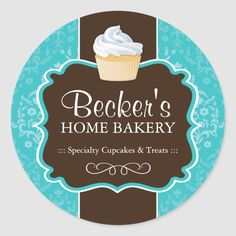 Shop Large Round Bakery Packaging Stickers created by colourfuldesigns. Bakery Packaging, Packaging Design, Biscuits Packaging, Packaging Ideas, Choco Factory, Logo Doce, Art And Hobby, Bakery Logo Design, Cupcake Bakery