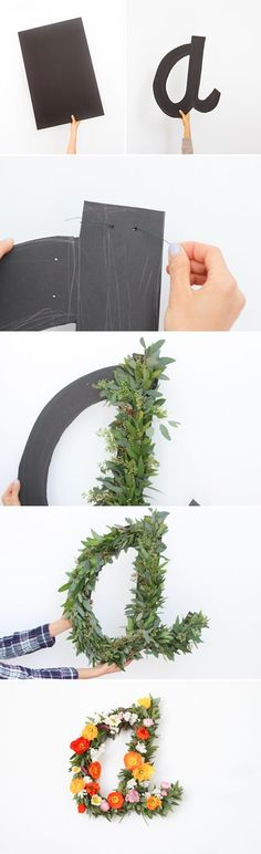 Diy crafts ideas how to make a giant typography wall art with flowers tipografía gigante deco