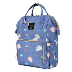 Buy SUNVENO Diaper Bag Backpack, Large Capacity Multi-Function Waterproof Travel Backpack Nursing Bag for Mom with Large Insulated Pocket and Independent Wet Cloth Bag (Blue) Sunveno Diaper Bag, Diaper Bag Backpack, Travel Backpack, Trendy Diaper Bags, Nurse Bag, Weight Bags, Popular Cartoons, Beautiful Unicorn, Cloth Bags