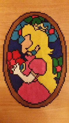 Princess Peach Stained Glass Perler beads by jrfromdallas