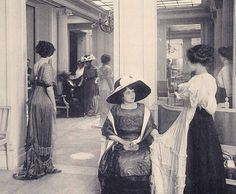 Downton Abbey Fashion Era -  House-of-Doucet-Galerie-de-vente-Paris-Fashion-1910. In 1910 for a truly elegant – and rich woman, visiting the great fashion salons of Paris was an obligation which she could not shirk. Out of 'necessity' she had to go to these shows or 'galeries' – not only to learn about the latest modes but to 'be seen' by others in society.