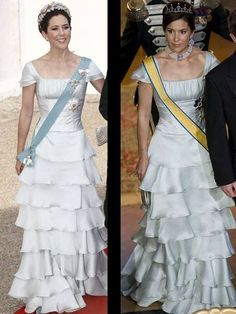 Princess Mary wore this bright blue dress, both times in 2008: at a state visit from Greece, and then at the wedding of her brother in law Prince Joachim in 2008