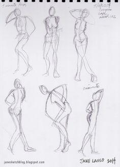 Práctica de dibujo gestual (semana 102) | Dibujos y Sketches de Jane Lasso #gesturedrawing